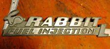"""VW Cabriolet Rabbit """"Fuel Injection"""" Hatch Trunk Emblem Badge Original Silver"""