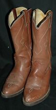 Vintage Brown Leather Cowboy Boots Men's 8.5 81/2 D 6728 940001 Made In Usa