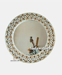 Wooden Mother of Pearl Round Mirror Frame