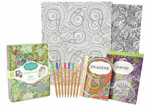 Creativity Keepsake Adult Coloring Book Set - New In Tin W/Coloring Pencils NEW