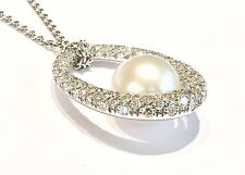 MIKIMOTO COMPAGNIA DELLE PERLE collana oro biaco 18 kt  diamanti e perla cm 3,20