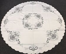 """Elegant Linen 60"""" Round Gray Embroidered Floral Embroidery Tablecloth Napkins"""