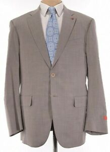 ISAIA NWT Suit Size 46R In Solid Light Brown Wool/Silk Current Base S $4,250