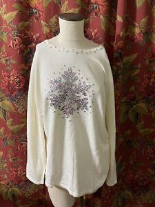 New Quacker Factory size  2x Ivory white  Snowflake  Knit Sweater