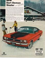 1971 Dodge Dart Demon Sizzler Skiers Ski Lodge Automobile Car Vtg Print Ad