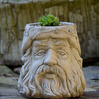 WIZARD FLOWER POT Garden Ornament Hand Cast Stone Planter ⧫onefold-uk