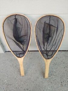 Vintage Lot Of 2 Wood Fly Fishing Trout Nets