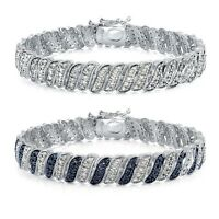 1.00ct TDW Genuine Diamond Wave Link Tennis Bracelet in Brass in Brass
