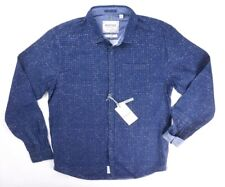 NEW MENS $98 REPORT COLLECTION BLUE DETAILED SLIM FIT BUTTON DOWN SIZE M