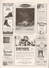 1918  ANTIQUE PRINT WW1 - ADVERT- WOLSELEY CARS, DENBY LORRIES,IDEAL SHOES,SMITH