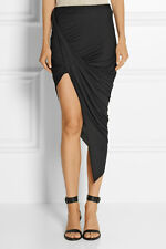 Helmut Lang Dynamic Jersey Asymmetrical Wrap Skirt in Graphite Mushroom Large L