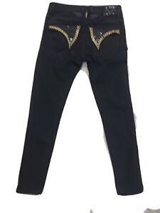 ROBIN'S BLACK AND RED MEN'S STRAIGHT STUDDED JEANS SIZE  32 X 32