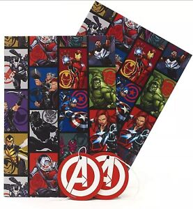 Boys Birthday Wrapping Paper - Marvel Wrapping Paper - 2 Sheet 2 Tags