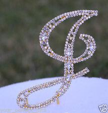 "5"" Crystal Rhinestone Gold Letter ""J"" Bling Wedding Cake Topper Initial Birthday"