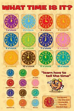*NEW* Educational Children What Time Is It Wall Poster - Tell Time 60cm x 90cm