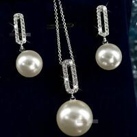 18k gold gf made with SWAROVSKI crystal earrings pearl pendant necklace set