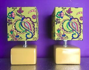 Pair Of Mustard/Olive /Bedside Table Lamps/Handmade Paisley Pattern Shades