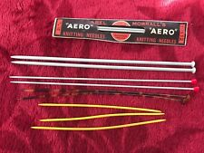 Lot vintage retro 5 pairs knitting needles aero faux tortoise shell double end