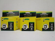 3 INKJET CARTRIDGES FOR DUMMIES REMANUFACTURED REPLACES HP 63 BLACK NT 8003