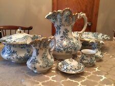 Flow Blue Art Nouveau Wood and Sons Royal Semi Porcelain Wash Set  RaRE 1900 7pc