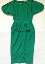 DANNII MINOGUE TERMINAL D GREEN PEPLUM SILK DRESS UK 8/10 BNWT