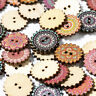 Mixed 100Pcs 2 Holes Wooden Wood Buttons 20/25mm Sewing Scrapbooking DIY Craft