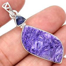 Siberia Charoite & Iolite 925 Sterling Silver Pendant Jewelry PP47570