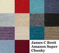 James C Brett Super Chunky Amazon Knitting Wool Yarn 100g Balls 12+ Colours