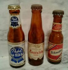 3 Vntg Mini BEER BOTTLE Miniature CAPPED SAMPLES - EASTSIDE, SCHMIDT'S & PABST