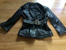 Moda international Victorias Secret Black Belted Leather Moto Jacket 3/4 sleeve
