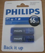 Philips USB Stick 2x 16GB Speicherstick Urban Edition blau transparent #556