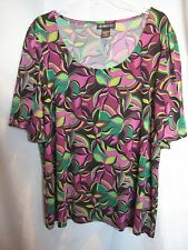 Womens 2X INC International Concepts Multi-Color Short Sleeve Top  EUC