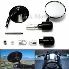 "Motorcycle CNC Aluminum Rearview Handle Bar End 7/8"" Side Mirrors Round Black US"