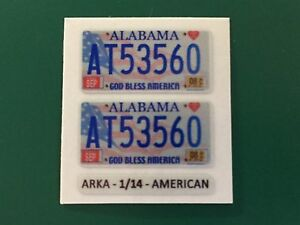 1/14 AMERICAN reflective stickers NUMBER PLATES licence 1pair - all US states