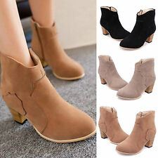 Womens Flat Ankle Boots Side Zip Mid Heel Casual Work Chelsea Pull On Shoes Size