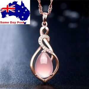 Fashion Rose Gold Crystal Pink Women Pendant Necklace Engagement Jewellery Gift