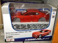 1:24 Escala Kit Chevrolet Camaro Ss Rojo Naranja 2010 Metal Modelo Montaje Line