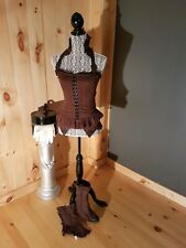 woman corset top, faux garter and spat set. small. lip service. step in time.