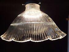 "Prismatic 9"" X 2 1/4"" Holophane Style Ribbed Cone Globe Lamp Shade Pendant"