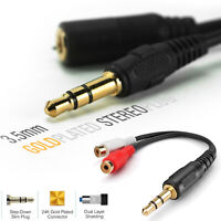 3.5mm 1/8 Stereo Aux Auxiliary Gold Jack Male to 2 Female RCA Adapter AV Audio