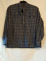 Men's Lee Valley Ireland 100% Cotton Blue Plaid Popover Grandpa Shirt Sz Small
