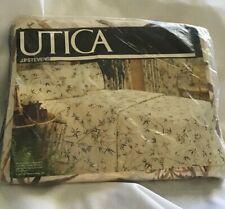 Utica Twin Flat Sheet JP Stevens No-Iron Percale Tan 66 x 96 Vintage Flowered