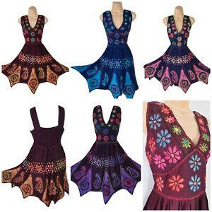 Ladies Knee Length Dress Hand Embroidered Batik Pixie Hem One Size 10 12 14 16
