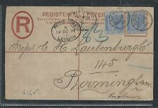 GIBRALTAR (P0912B) 1891 QV 20C RLE UPRATED 25CX2 TO ENGLAND