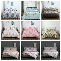 3 Pieces Floral Printed Duvet Cover Bedding Set King Queen Size 2 Pillowcases