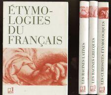 COFFRET. ETYMOLOGIES DU FRANçAIS. 3 TOMES. EDITIONS BELIN. 1996.