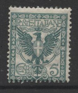 ITALY - 1901 5c DEEP BLUISH GREEN MINT SG.64 CAT. £90. (REF.A31)