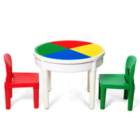 deAO 3-in-1 Multi-Purpose Building Block Construction Activity Table with Two Chairs Writing Top and Toy Storage for Kids