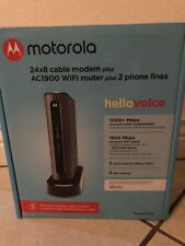 MOTOROLA MG7700 (24x8) Cable Modem, DOCSIS + AC1900 WiFi Router Combo./2 mo old