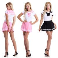 Japanese High School Girl Sailor Uniform Women Romper Cosplay Costume Skirt Set